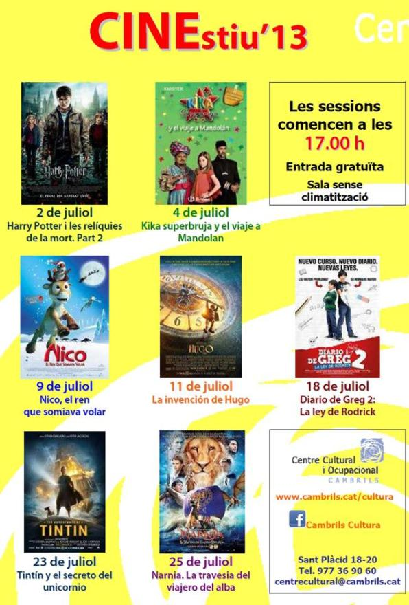 Cine familiar en Cambrils, Cartelera.